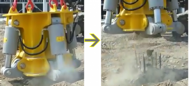 Pile Cutter In Action