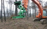 HTC Timber cutter shears in operation